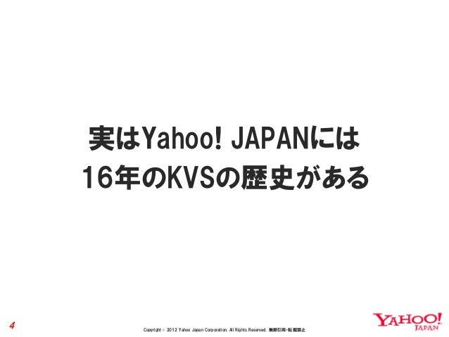 実はYahoo! JAPANには    16年のKVSの歴史がある4      Copyright © 2012 Yahoo Japan Corporation. All Rights Reserved. 無断引用・転載禁止