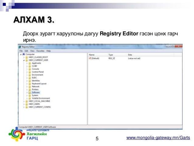 АЛХАМ 3. Доорх зурагт харуулсны дагуу Registry Editor гэсэн цонх гарч ирнэ.  5  www.mongolia-gateway.mn/Garts