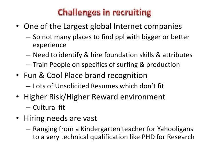 recruitment selection at yahoo