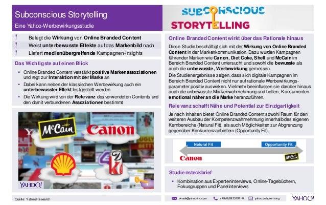 Das Wichtigste auf einen Blick  Online Branded Content verstärkt positive Markenassoziationen und regt zur Interaktion mi...