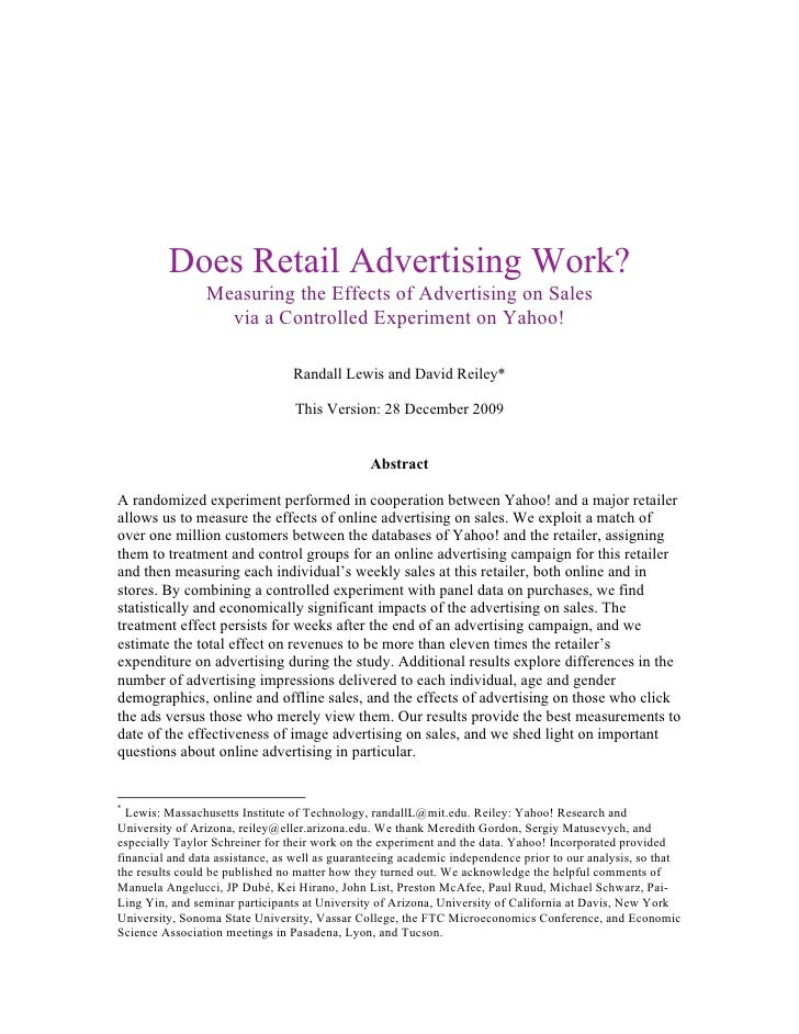 Does Retail Advertising Work?                Measuring the Effects of Advertising on Sales                  via a Controll...