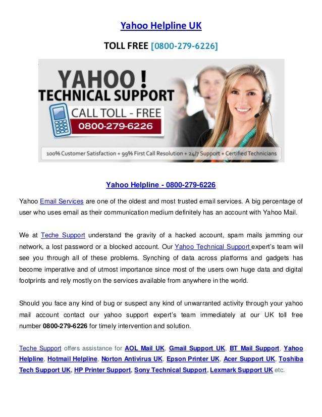 Yahoo support uk