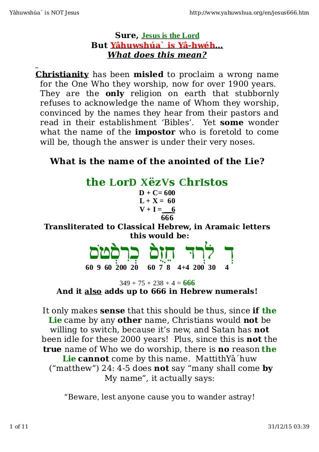 Sure, Jesus is the Lord But Yâhuwshúa` is Yâ-hwéh… What does this mean? Christianity has been misled to proclaim a wrong n...