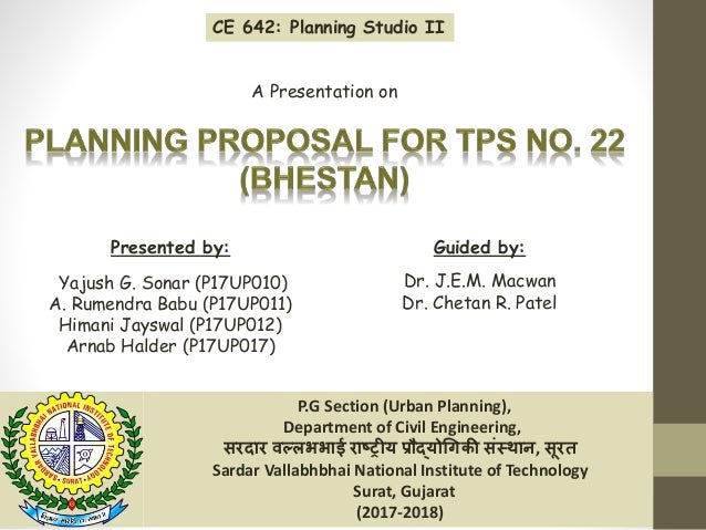 P.G Section (Urban Planning), Department of Civil Engineering, सरदार वल्लभभाई राष्ट्रीय प्रौद्योगिकी संस्थान, सूरत Sardar ...