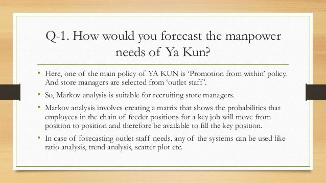 how would you forecast the manpower needs of ya kun Manpower planning 1 manpower planning 2 manpower planning it is an attempt to forecast how many and what kind of employees of various types, comparing these needs with the present and expected workforce, and determining the number and types of employees to be recruited or phased out of the organisation (bright, 1976) it is also a determination beforehand the personnel requirement of an.