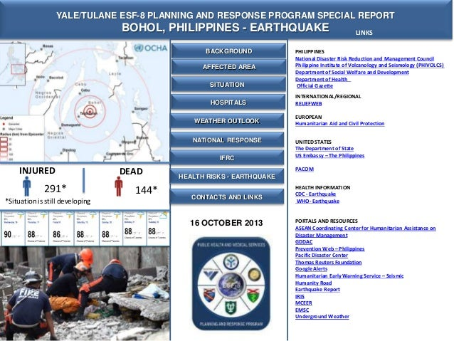 YALE/TULANE ESF-8 PLANNING AND RESPONSE PROGRAM SPECIAL REPORT  BOHOL, PHILIPPINES - EARTHQUAKE BACKGROUND  LINKS  SITUATI...