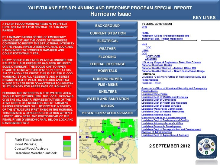 YALE/TULANE ESF-8 PLANNING AND RESPONSE PROGRAM SPECIAL REPORT                                                    Hurrican...