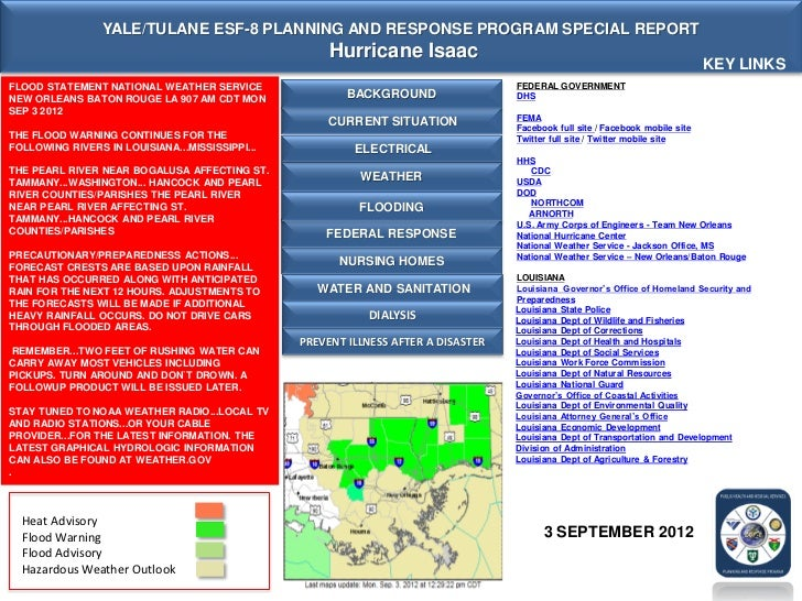 YALE/TULANE ESF-8 PLANNING AND RESPONSE PROGRAM SPECIAL REPORT                                                      Hurric...