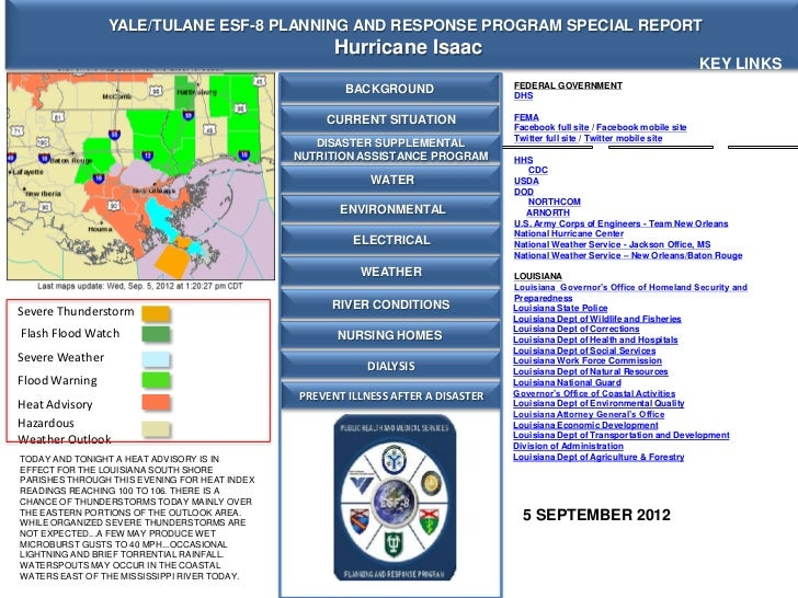 YALE/TULANE ESF-8 PLANNING AND RESPONSE PROGRAM SPECIAL REPORT                                                     Hurrica...