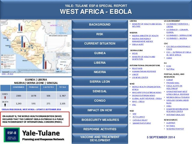 YALE- TULANE ESF-8 SPECIAL REPORT  WEST AFRICA - EBOLA  CONFIRMED PROBABLE SUSPECTED TOTALS  CASES  2383 1078 506 3, 967  ...