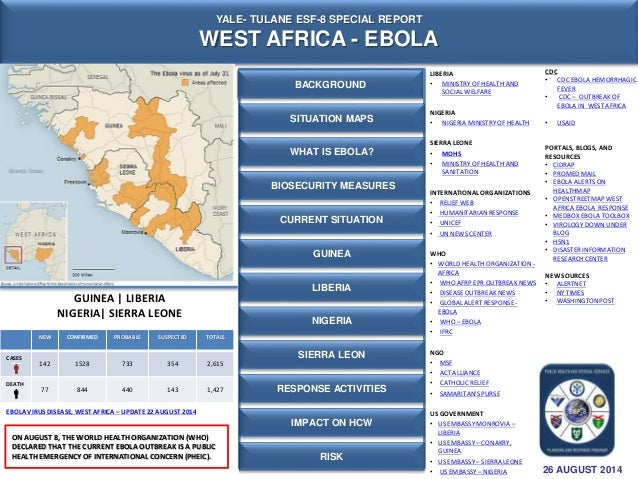 YALE- TULANE ESF-8 SPECIAL REPORT  WEST AFRICA - EBOLA  NEW CONFIRMED PROBABLE SUSPECTED TOTALS  CASES  142 1528 733 354 2...