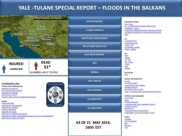 AS OF 21 MAY 2014, 1600 EST INJURED DEAD UNKNOWN 51* BACKGROUND SERBIA BiH GOVERNMENT LINKS EUROPEAN UNION ERCC Portal EU ...
