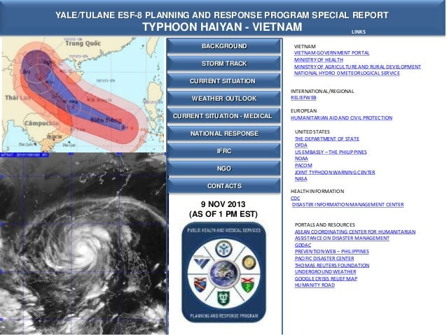 YALE/TULANE ESF-8 PLANNING AND RESPONSE PROGRAM SPECIAL REPORT  TYPHOON HAIYAN - VIETNAM BACKGROUND  STORM TRACK  LINKS  V...