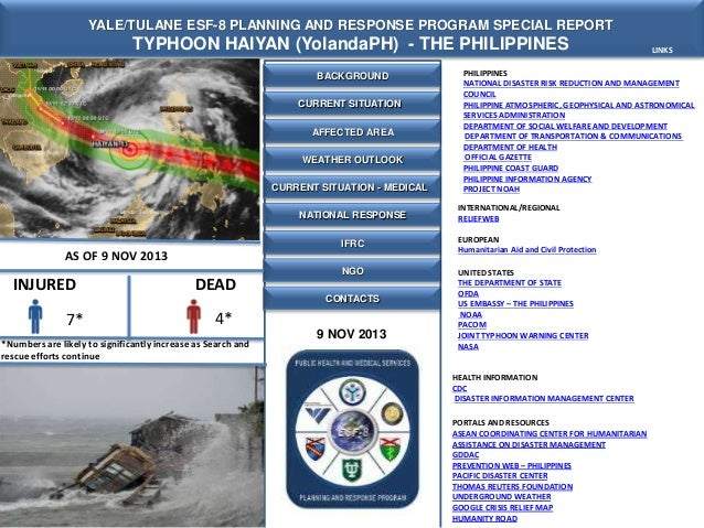 YALE/TULANE ESF-8 PLANNING AND RESPONSE PROGRAM SPECIAL REPORT  TYPHOON HAIYAN (YolandaPH) - THE PHILIPPINES BACKGROUND CU...