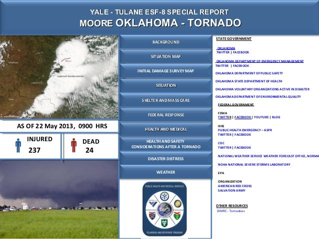 SITUATIONSITUATIONYALE - TULANE ESF-8 SPECIAL REPORTYALE - TULANE ESF-8 SPECIAL REPORTMOOREMOORE OKLAHOMA - TORNADOOKLAHOM...