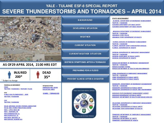 CURRENT SITUATION YALE - TULANE ESF-8 SPECIAL REPORT SEVERE THUNDERSTORMS AND TORNADOES – APRIL 2014 AS OF29 APRIL 2014, 2...