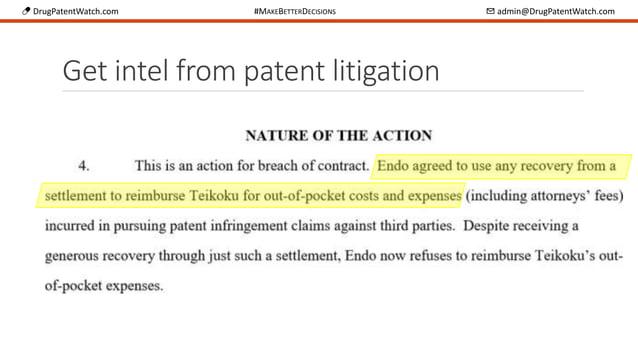 💊 DrugPatentWatch.com #MAKEBETTERDECISIONS ✉ admin@DrugPatentWatch.com Get intel from patent litigation