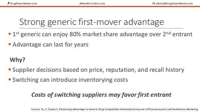 💊 DrugPatentWatch.com #MAKEBETTERDECISIONS ✉ admin@DrugPatentWatch.com Strong generic first-mover advantage  1st generic ...