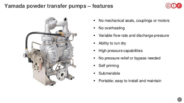 7 Yamada powder transfer pumps – features  No mechanical seals, couplings or motors  No overheating  Variable flow rate...
