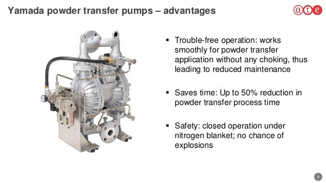 9 Yamada powder transfer pumps – advantages  Trouble-free operation: works smoothly for powder transfer application witho...