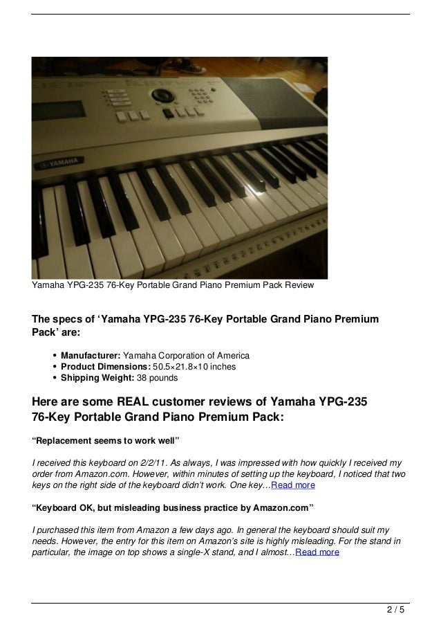 yamaha ypg 235 76 key portable grand piano premium pack review. Black Bedroom Furniture Sets. Home Design Ideas