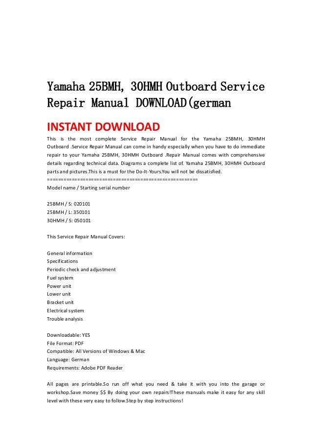 Yamaha 25 Bmh  30hmh Outboard Service Repair Manual