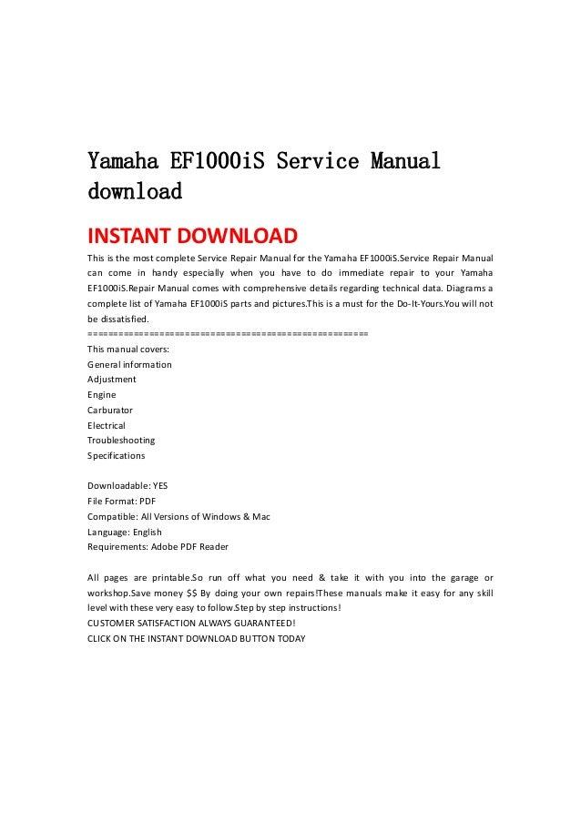 yamaha ef1000i s service manual download. Black Bedroom Furniture Sets. Home Design Ideas