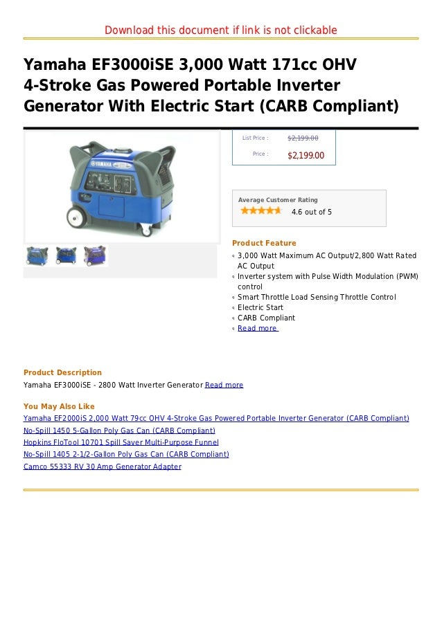 Download this document if link is not clickableYamaha EF3000iSE 3,000 Watt 171cc OHV4-Stroke Gas Powered Portable Inverter...