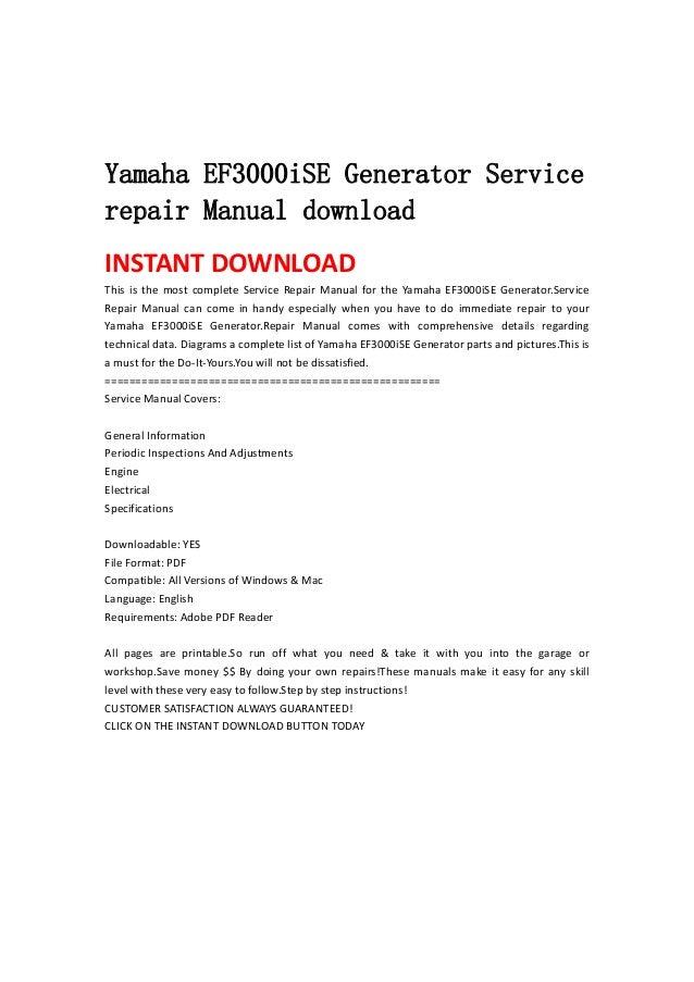 yamaha ef3000i se generator service repair manual download rh slideshare net Yamaha 3000 Watt Inverter Generator yamaha generator ef3000ise service manual