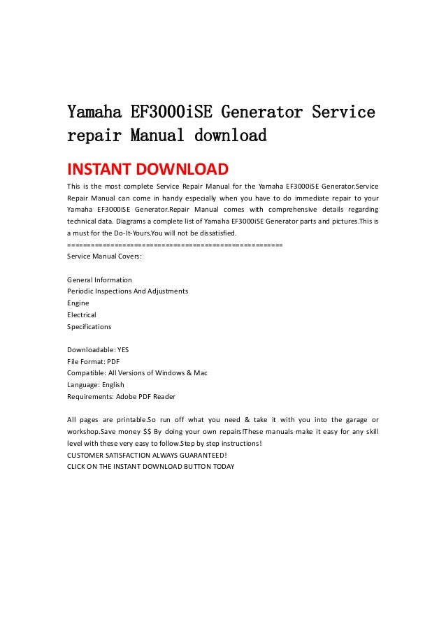 Yamaha Generator Manual