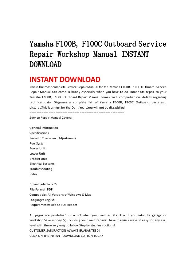 yamaha f100 b f100c outboard service repair workshop manual instant rh slideshare net 1997 Yamaha Outboard Manual yamaha f100 outboard specifications
