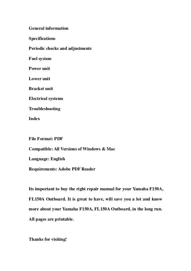 yamaha f150 service manual pdf