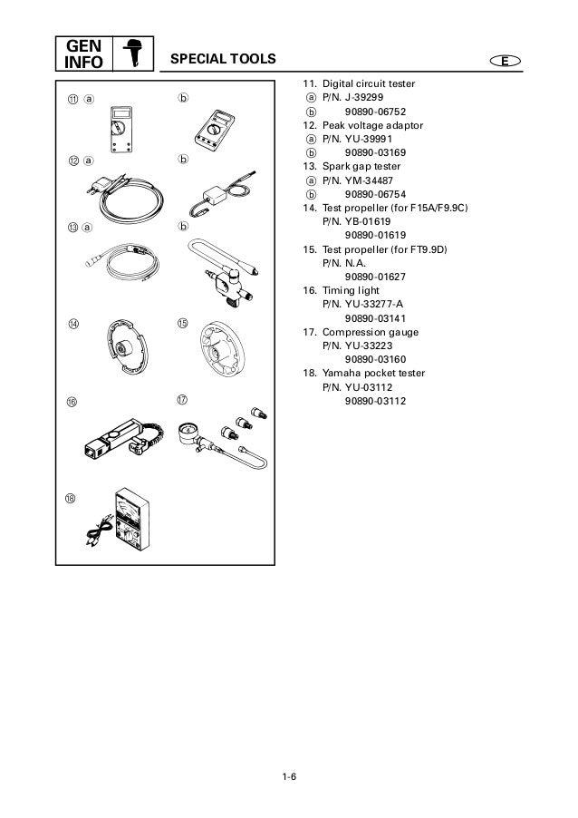 Yamaha f15 aeh, f15eshx outboard service repair manual s