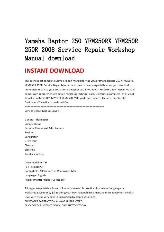yamaha raptor 250 yfm250 rx yfm250r 250r 2008 service. Black Bedroom Furniture Sets. Home Design Ideas