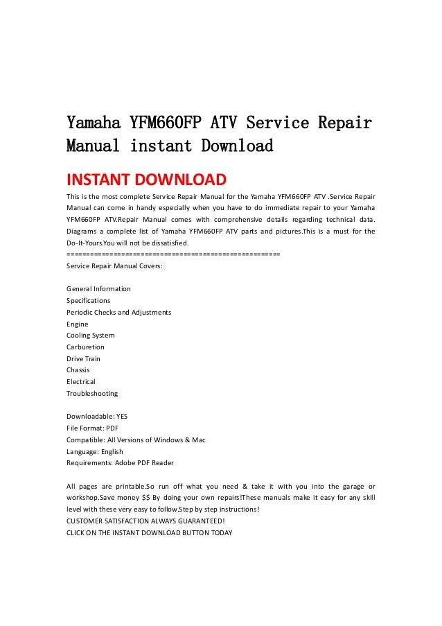 Yamaha Yfm660 Fp Atv Service Repair Manual Instant Download