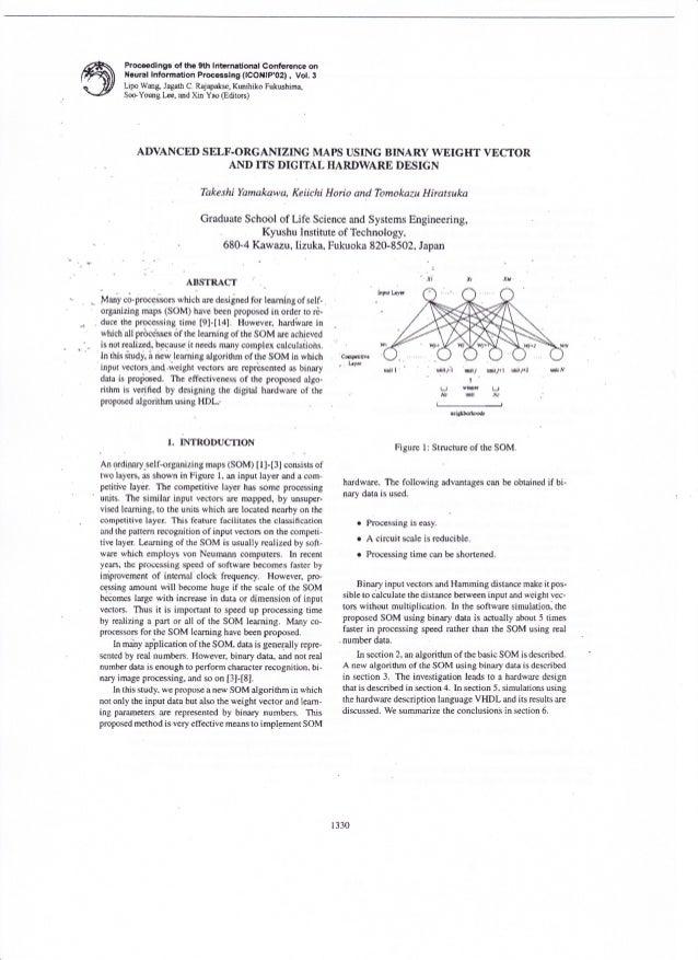 Yamakawa, t. 2002: advanced self-organising maps using binary weight vector and its digital hardware design