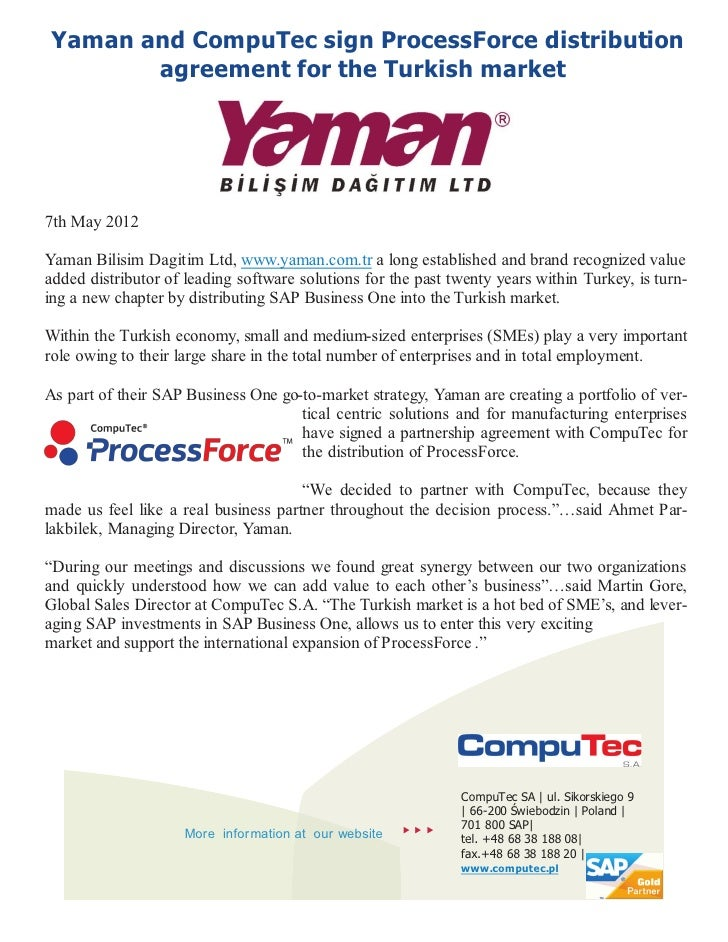 Yaman And Computec Sign Distribution Agreement For Processforce