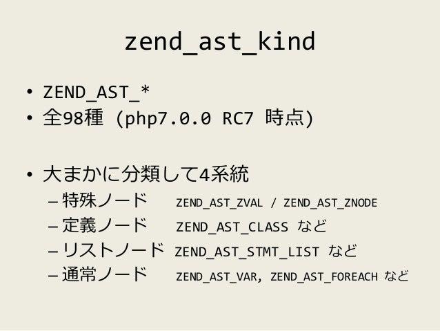 特殊ノード (special nodes) • ZEND_AST_ZVAL – zval を包含するノード – リテラル や 変数名、呼び出し関数名等 – 常にリーフ • ZEND_AST_ZNODE – 構文解析の過程では一切利用されない –...