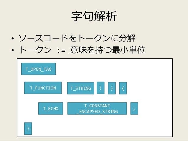 構文解析 • トークン列から規則(文法)を導く function hello ( ) { echo 'HELLO WORLD' ; } T_FUNCTION T_STRING ( ) { } T_ECHO T_CONSTANT _ENCAPSE...