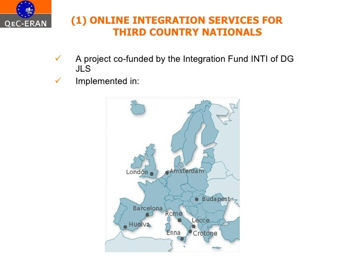 <ul><li>(1) ONLINE INTEGRATION SERVICES FOR THIRD COUNTRY NATIONALS </li></ul><ul><li>A project co-funded by the Integrati...