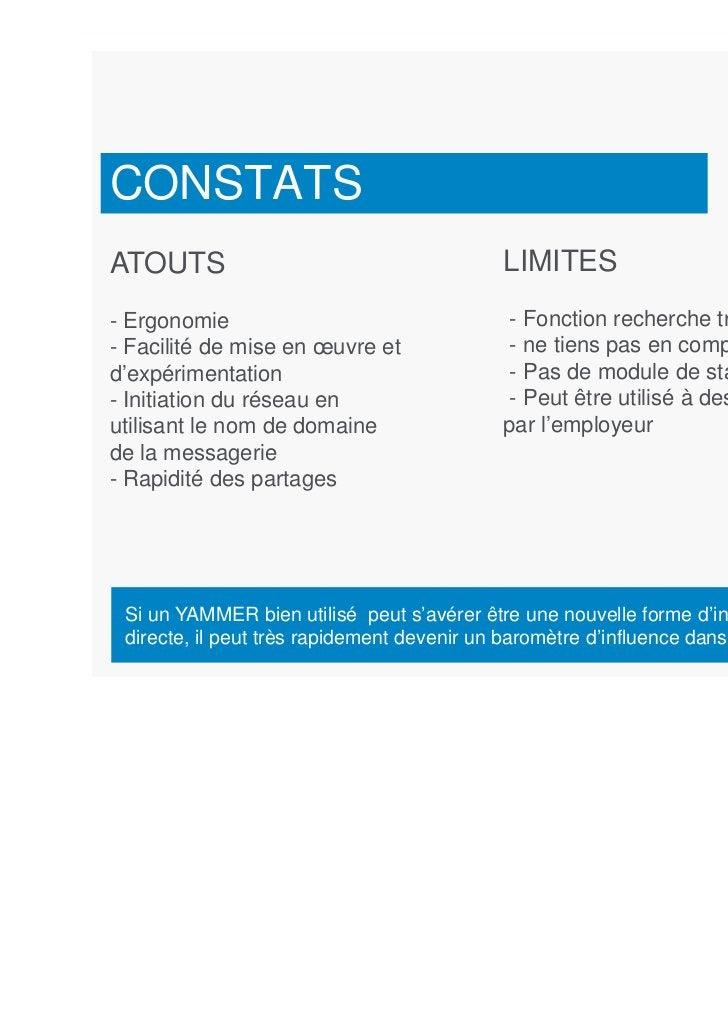 CONSTATSATOUTS                                      LIMITES- Ergonomie                                  - Fonction recherc...