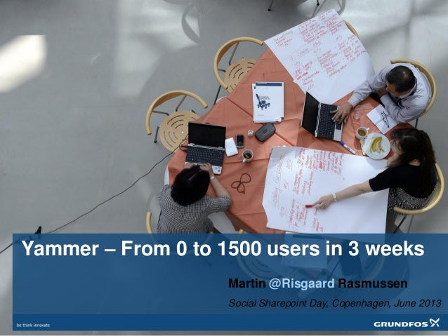 Yammer – From 0 to 1500 users in 3 weeksMartin @Risgaard RasmussenSocial Sharepoint Day, Copenhagen, June 2013