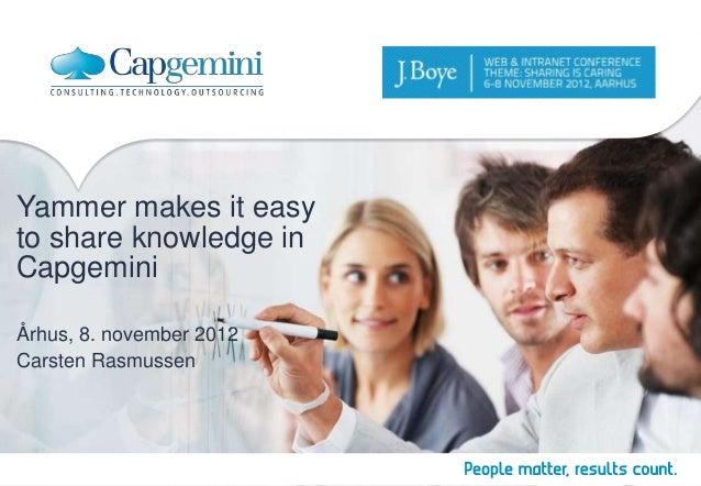 Yammer makes it easyto share knowledge inCapgeminiÅrhus, 8. november 2012Carsten Rasmussen