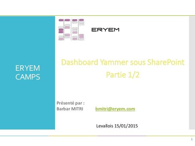 ERYEM CAMPS Dashboard Yammer sous SharePoint Partie 1/2 1 Présenté par : Barbar MITRI bmitri@eryem.com Levallois 15/01/2015