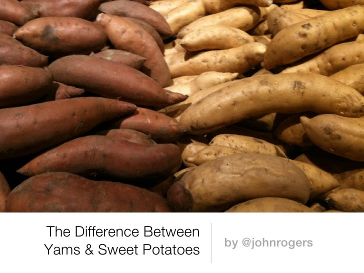 The Difference Between                         by @johnrogersYams & Sweet Potatoes