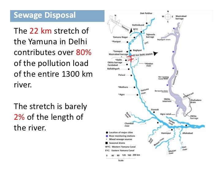 SewageDisposalThe22kmstretchofThe 22 km stretch oftheYamunainDelhicontributesover80%contributes over 80%ofthe...