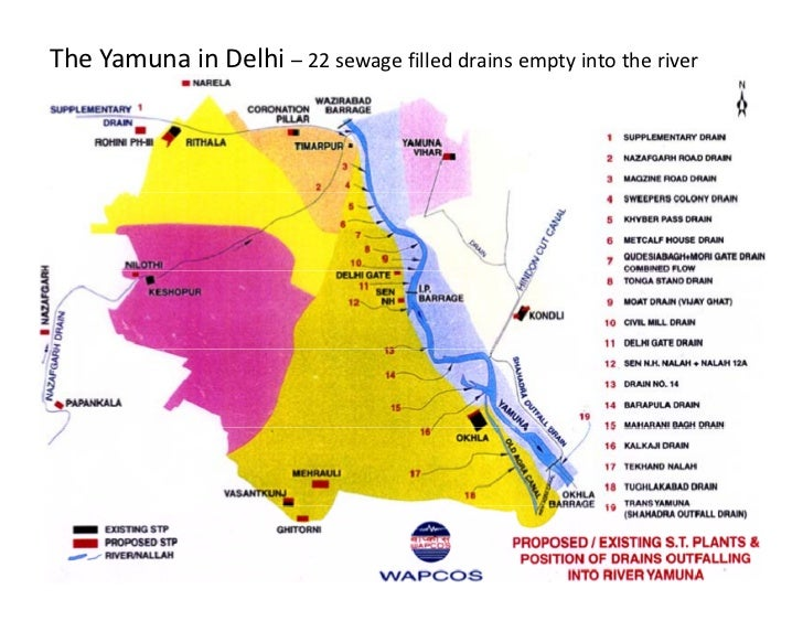 The Yamuna in Delhi – 22 sewage filled drains empty into the river