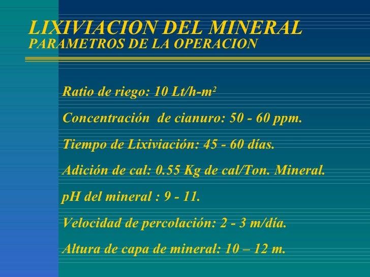LIXIVIACION DEL MINERAL PARAMETROS DE LA OPERACION Ratio de riego: 10 Lt/h-m 2 Concentración  de cianuro: 50 - 60 ppm. Tie...