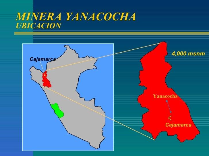 MINERA YANACOCHA UBICACION Cajamarca 4,000 msnm Cajamarca Yanacocha
