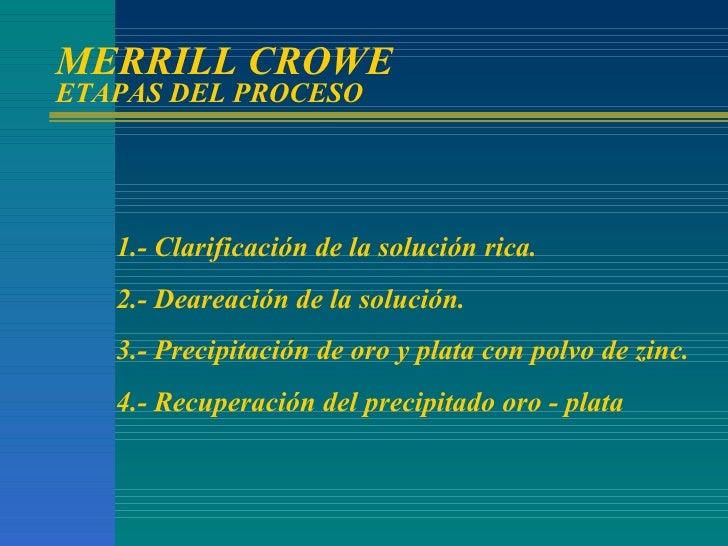 MERRILL CROWE ETAPAS DEL PROCESO 1.- Clarificación de la solución rica. 2.- Deareación de la solución. 3.- Precipitación d...